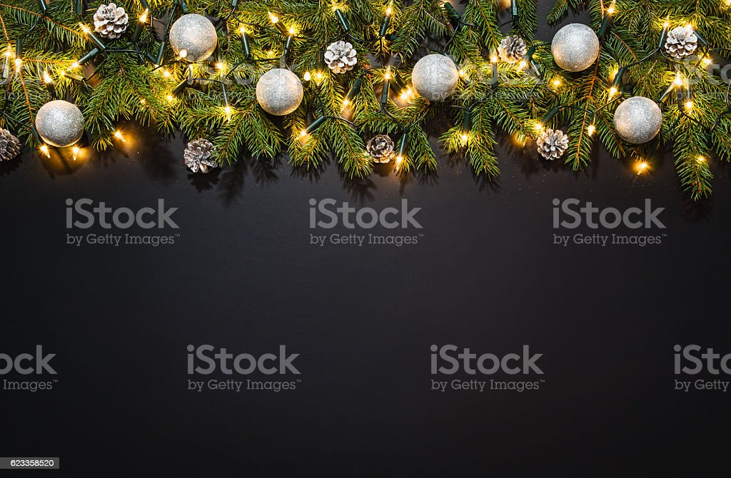 Christmas decoration background over black chalkboard stock photo
