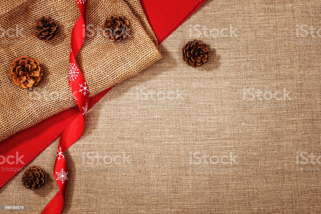 Christmas decoration background over linen background stock photo