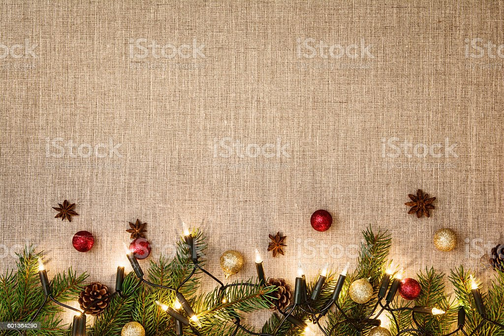 Christmas decoration background over linen cloth. stock photo