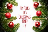 Christmas decoration background with message 'Hey Folks it's Christmas time!'