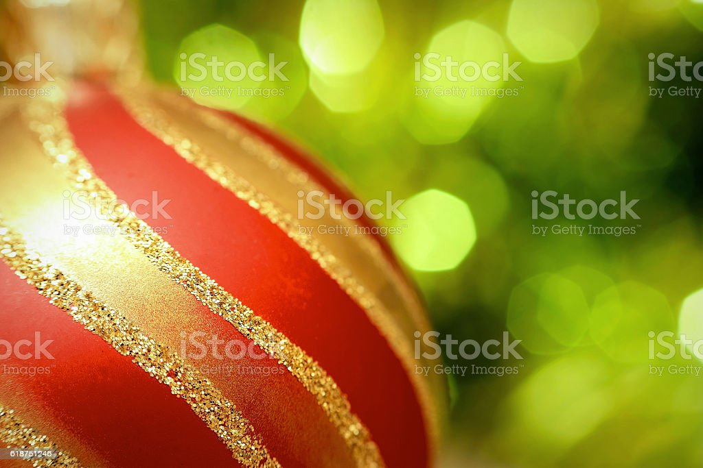 Christmas decoration ball with green background stock photo