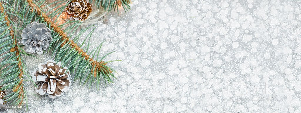 Christmas decoration banner in 8 x 3 resolution stock photo