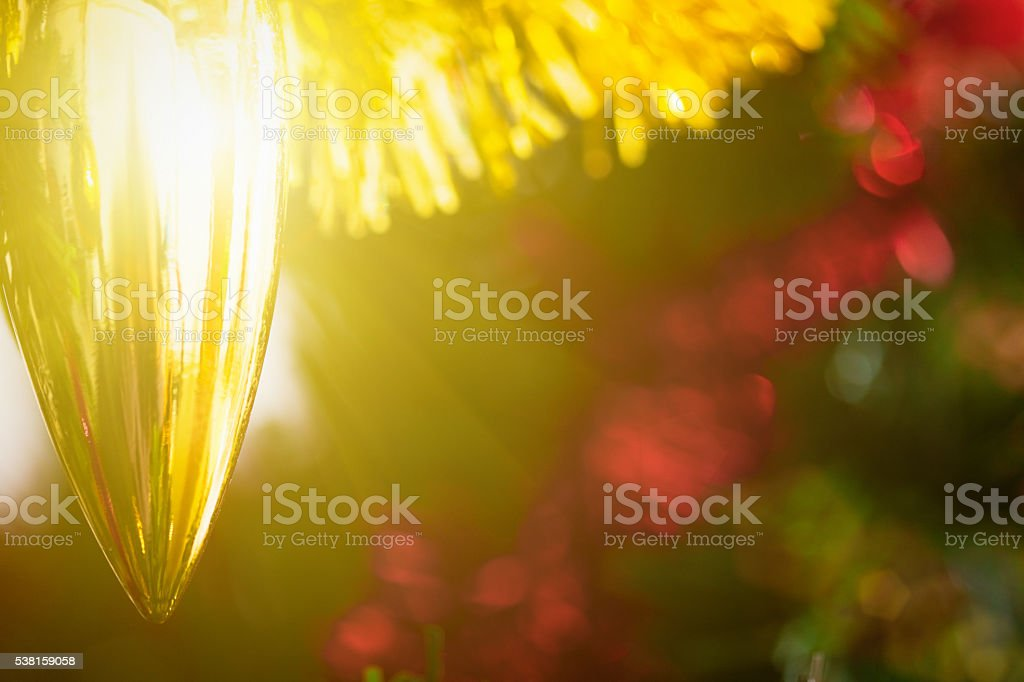 Christmas, decoration, bauble, tree, holiday season, golden, shiny, copy space, stock photo