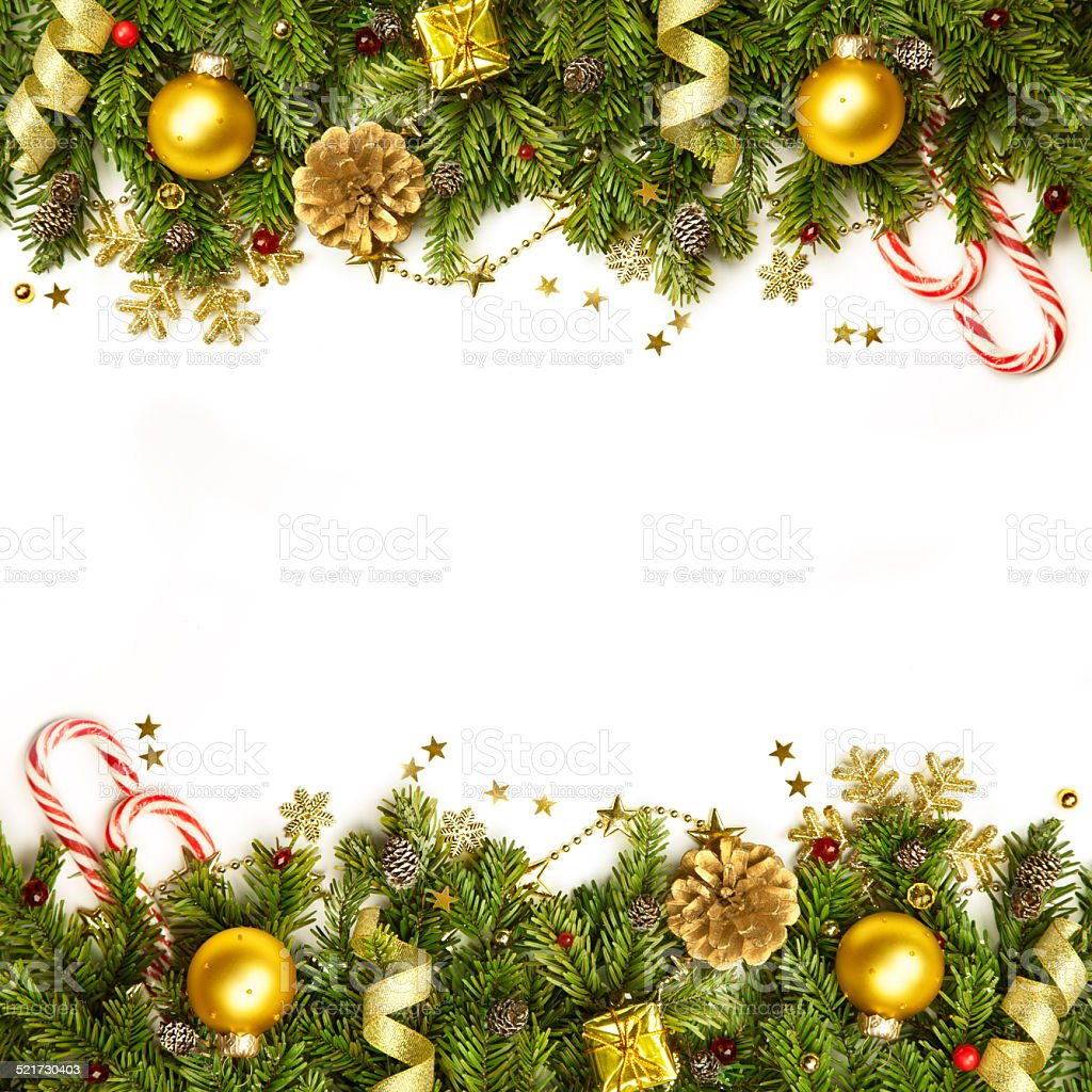 Christmas Decoration Border - background isolated on white stock photo