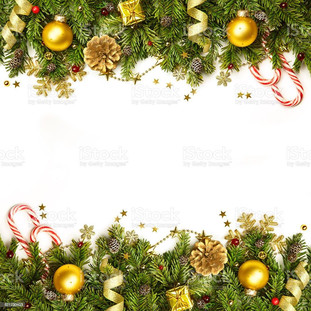 Christmas Decoration Border - background isolated on white stock photo