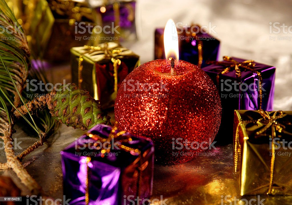 Christmas decoration candle royalty-free stock photo