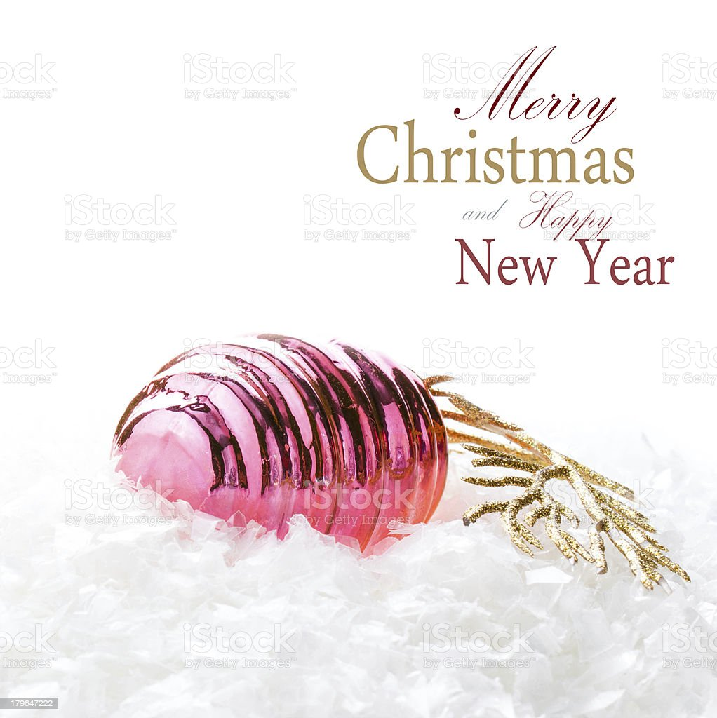 Christmas Decoration colored cone on a snow royalty-free stock photo