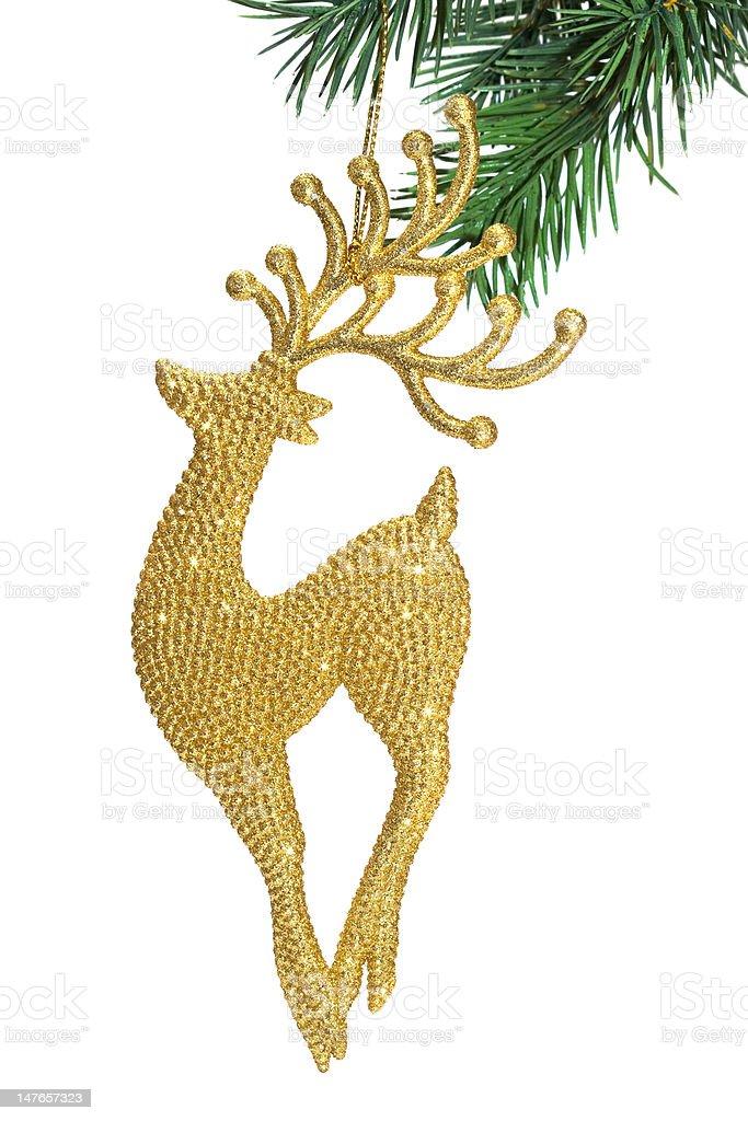 Veado com uma decoração de Natal-árvore de Abeto foto de stock royalty-free