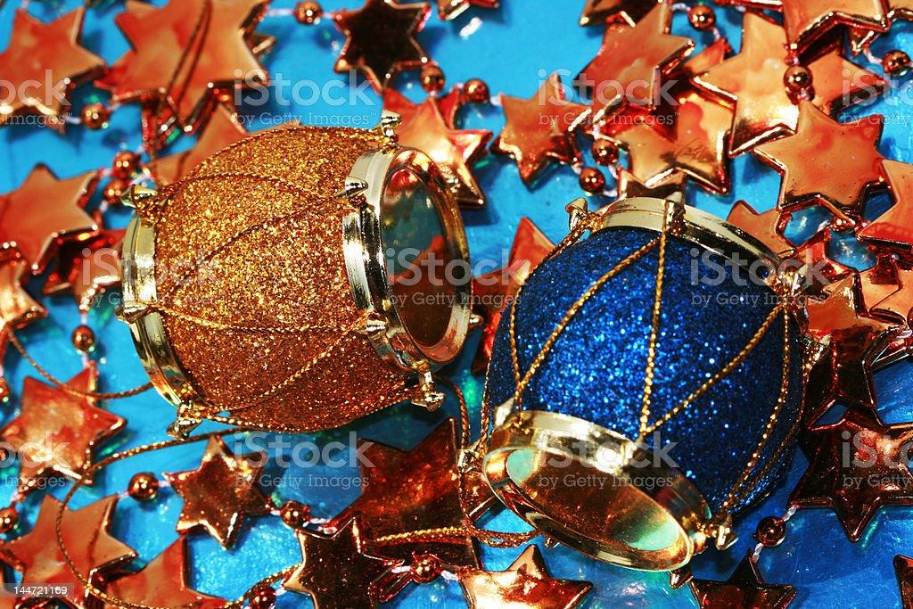Decoração de Natal em fundo de estrelas de Tambor foto de stock royalty-free