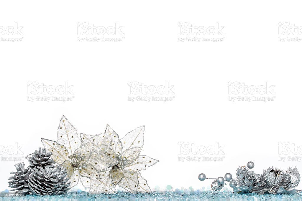 christmas decoration flower on Snow, isolated on white stock photo