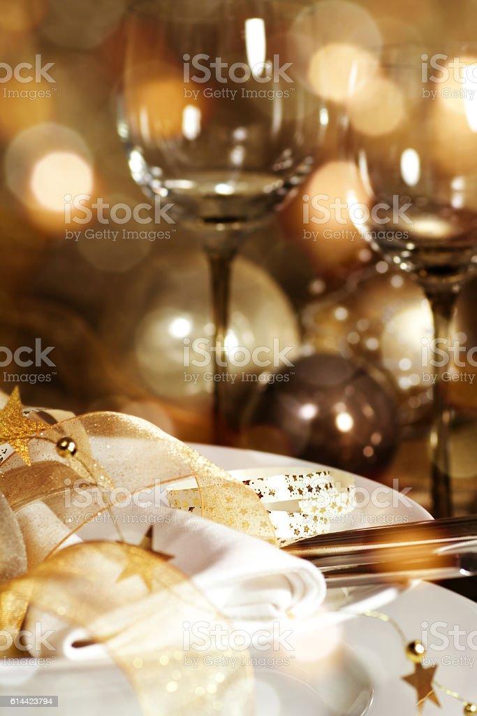 Christmas decoration for a festive dinner stock photo