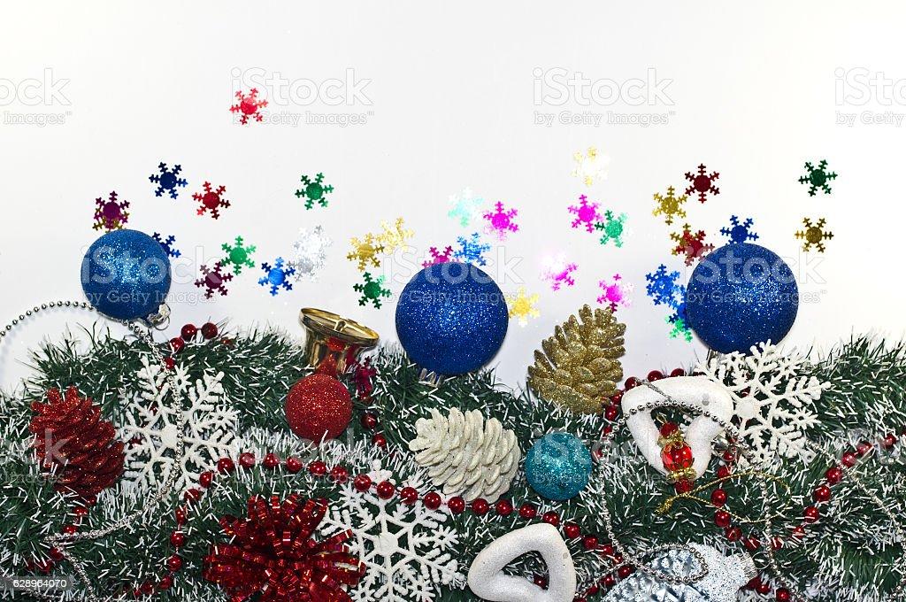Christmas Decoration, garland fir tree,  baubles, snowflake stock photo