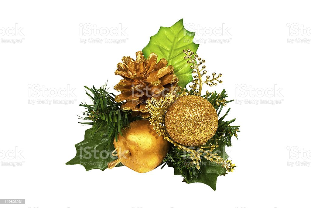 Christmas decoration - green gold branch royalty-free stock photo