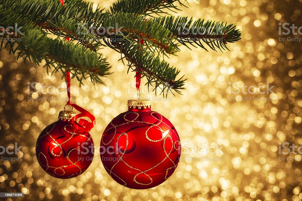 Christmas Decoration Hanging on Tree stock photo