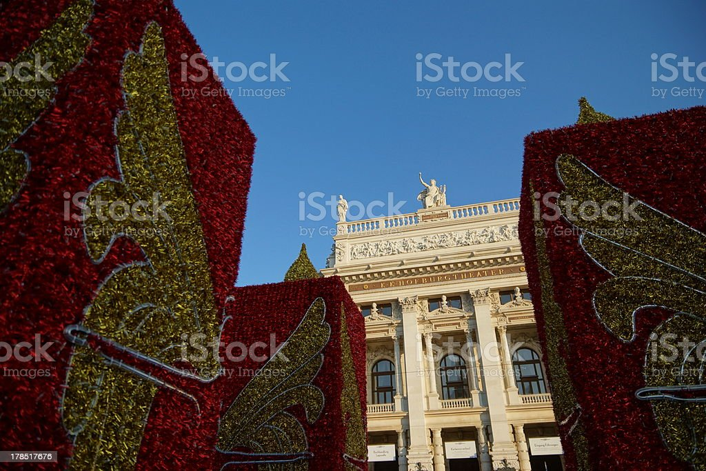 Christmas decoration in front of the Burgtheater, Vienna stock photo