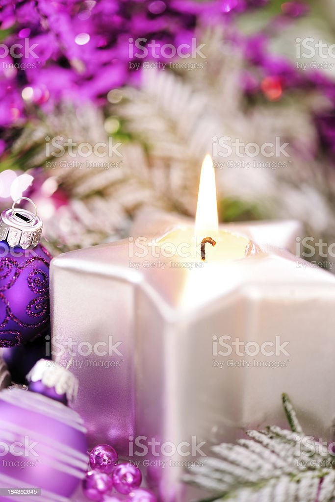 Christmas decoration in pink, green and silver royalty-free stock photo