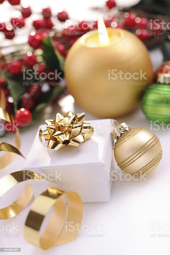 Christmas decoration in red,green and gold royalty-free stock photo
