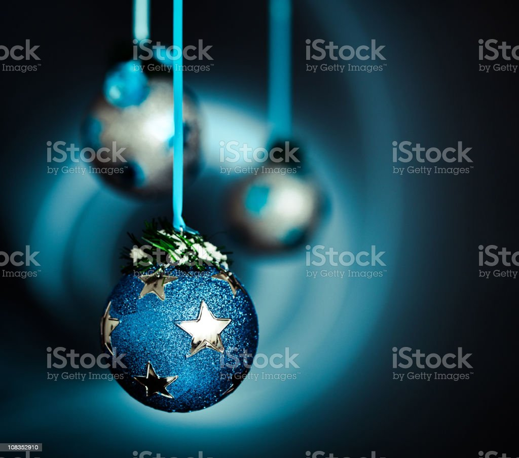 Christmas decoration in snow on dark background blue silver series royalty-free stock photo