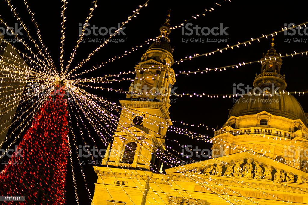 Christmas decoration in St. Stephen's Basilica Square, Budapest, Hungary stock photo