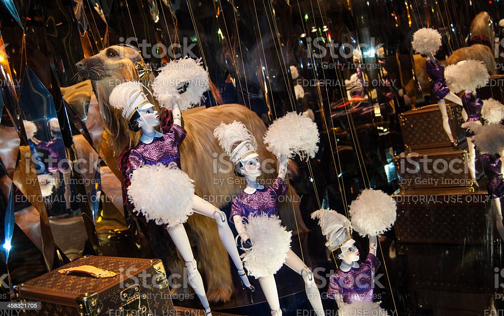 Christmas  decoration in the windows of Galeries Lafayette department store. stock photo