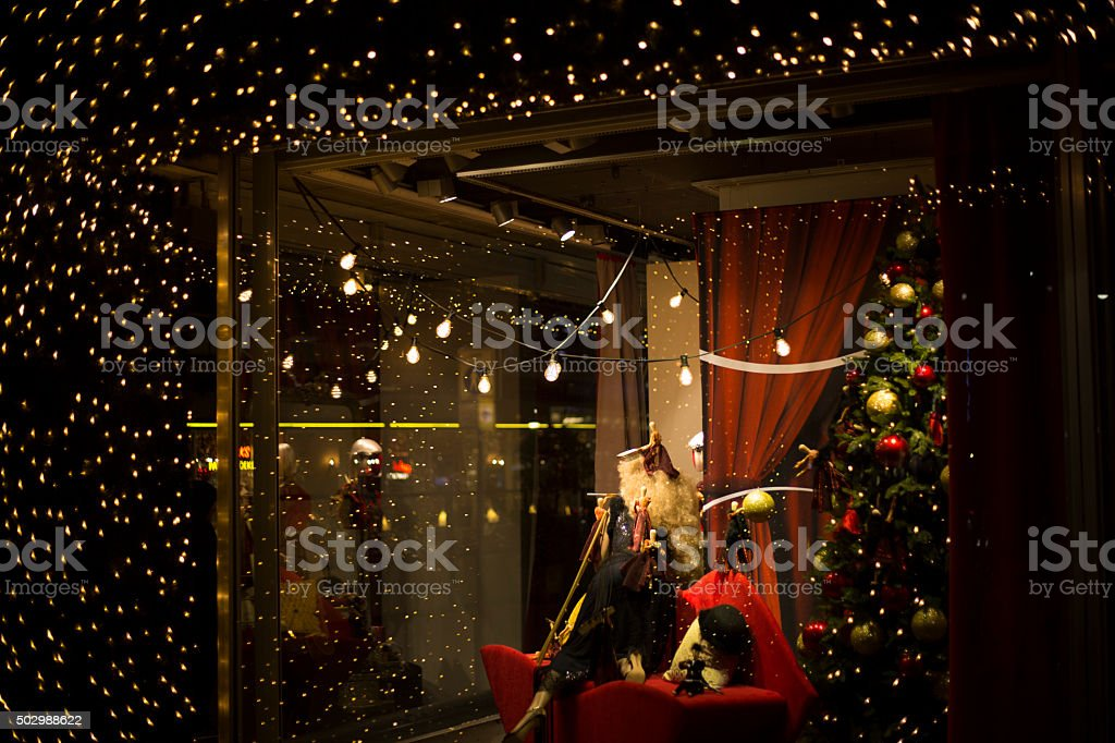 Christmas decoration in window store stock photo