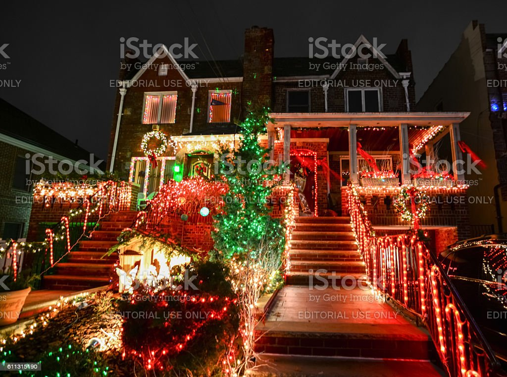 Christmas decoration of a house in Dykers Height stock photo