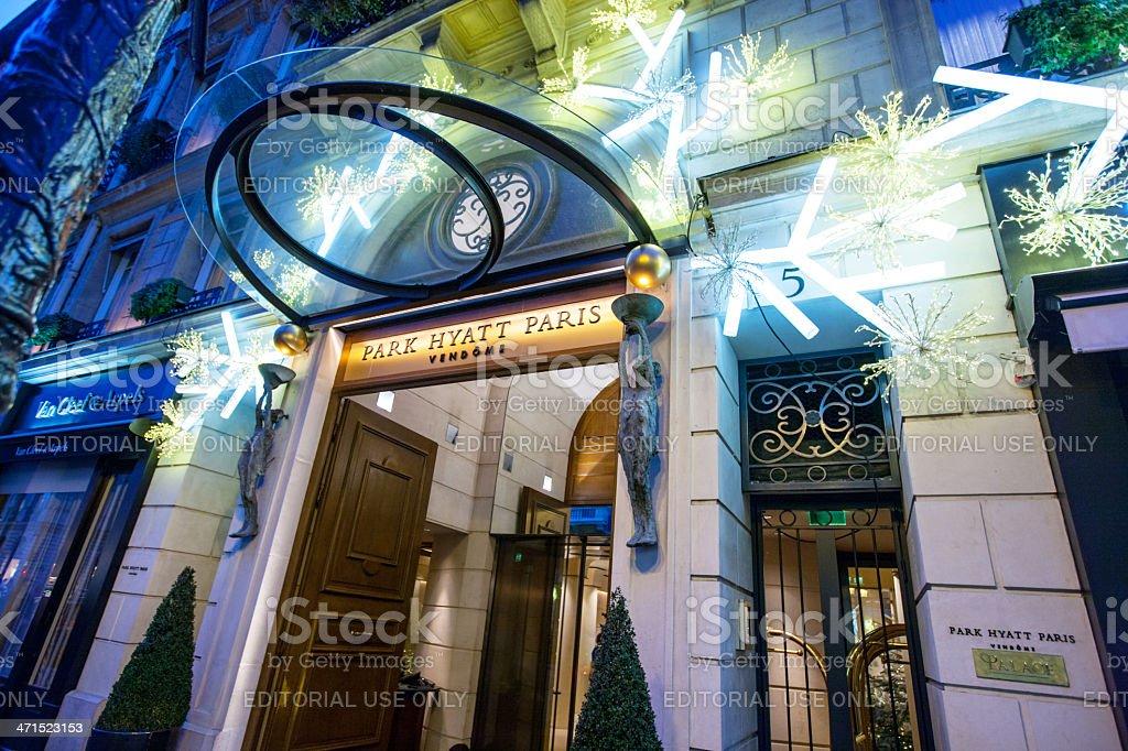 Christmas Decoration of Park Hyatt Paris, Place Vendome stock photo