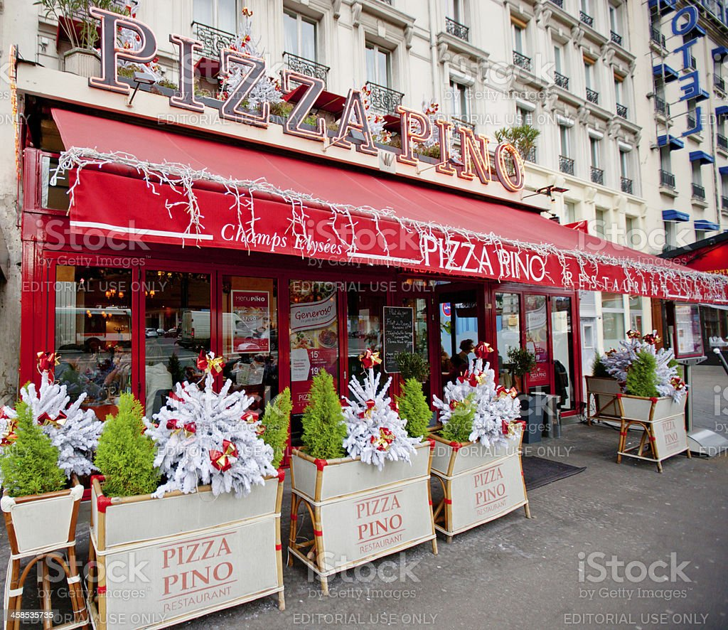 Christmas Decoration of Pizza Pino Restaurant, Paris stock photo