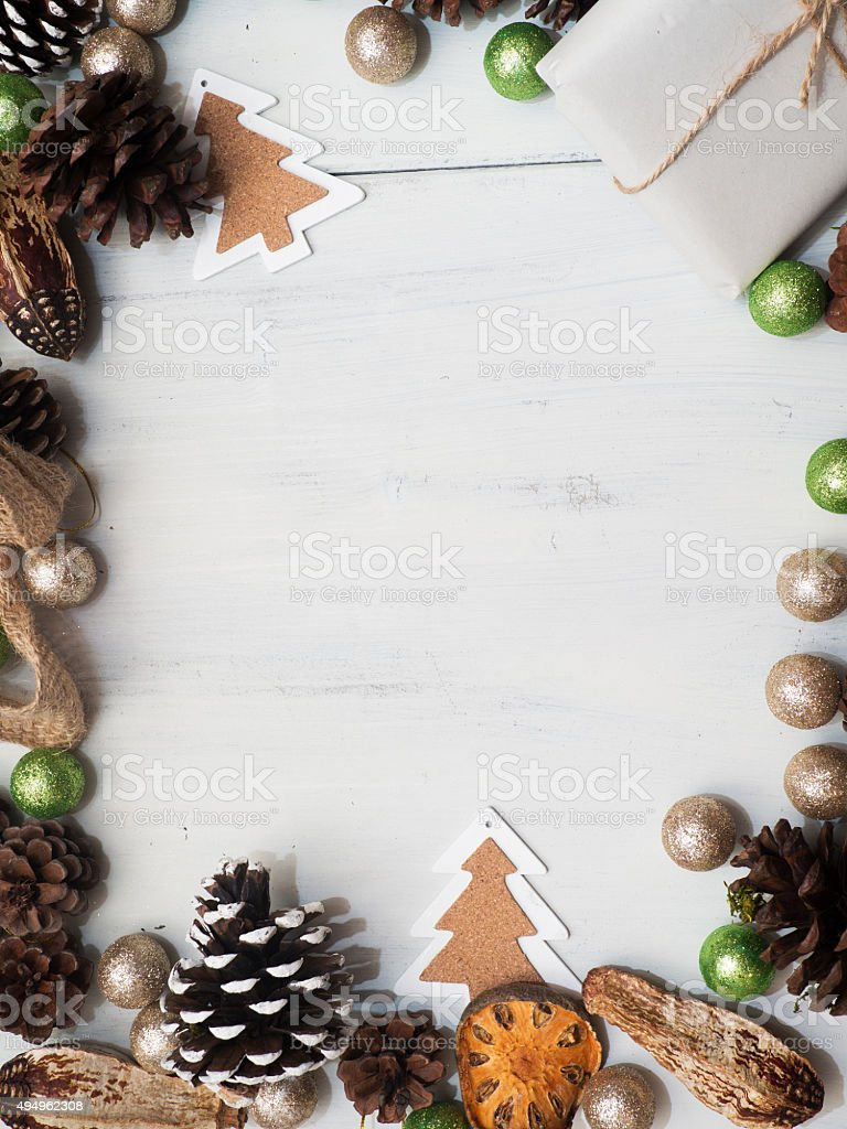 Christmas decoration on a white wooden background stock photo