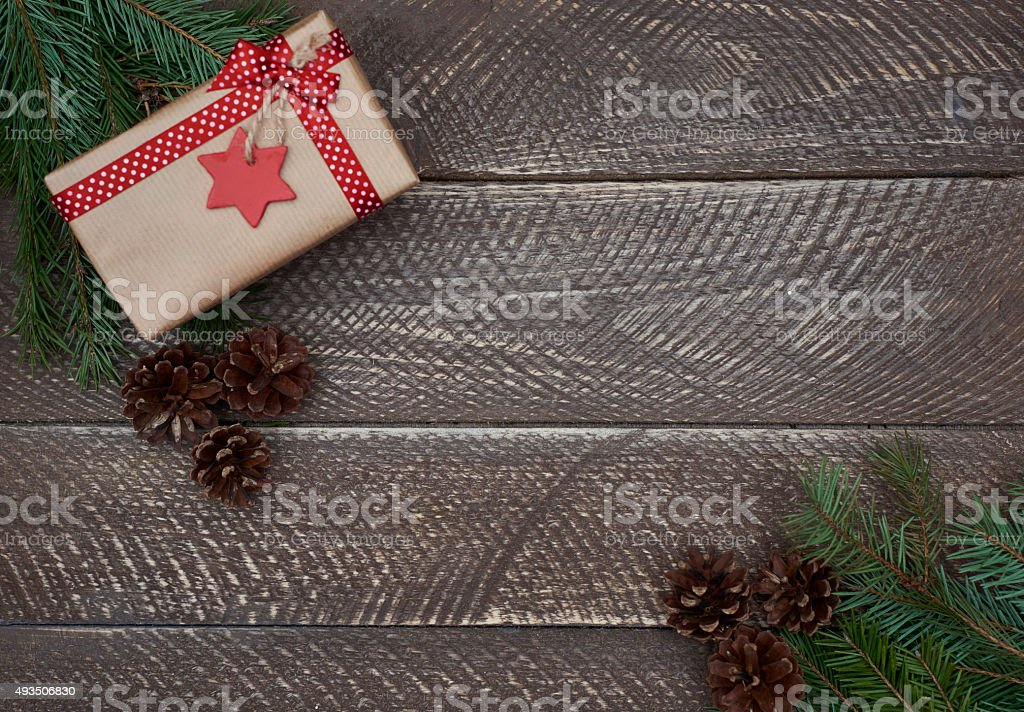 Christmas decoration on an old wooden plank stock photo