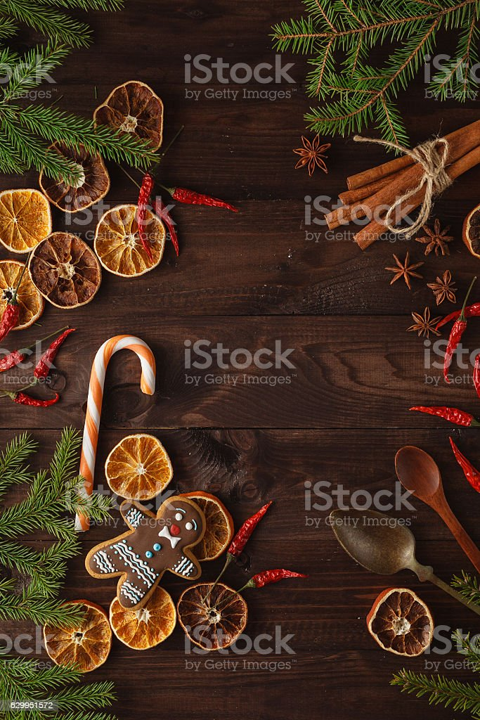 Christmas decoration on dark wooden table stock photo