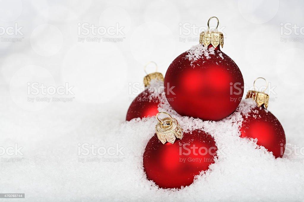 Christmas decoration on defocused lights background stock photo