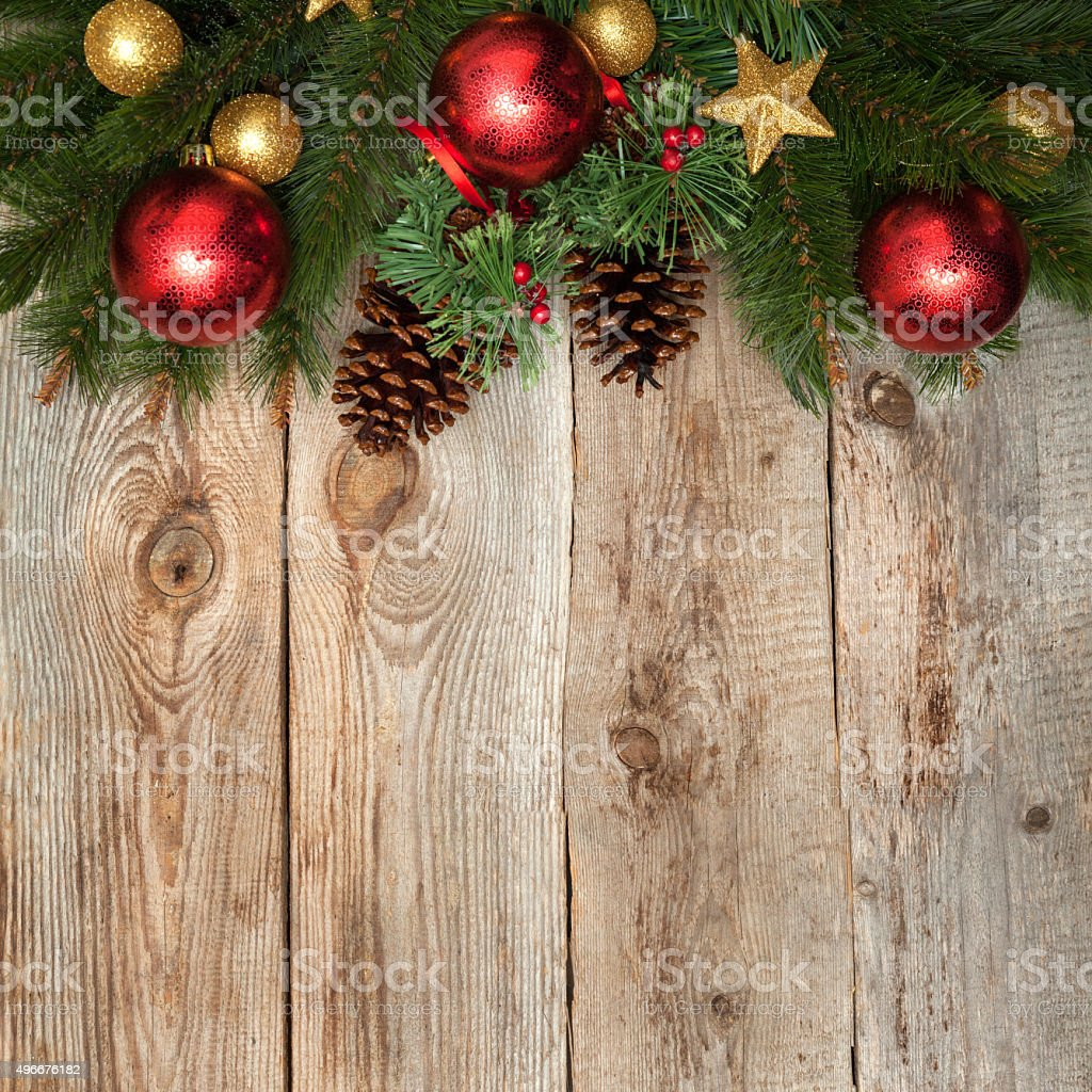 Christmas decoration on distressed wooden background stock photo