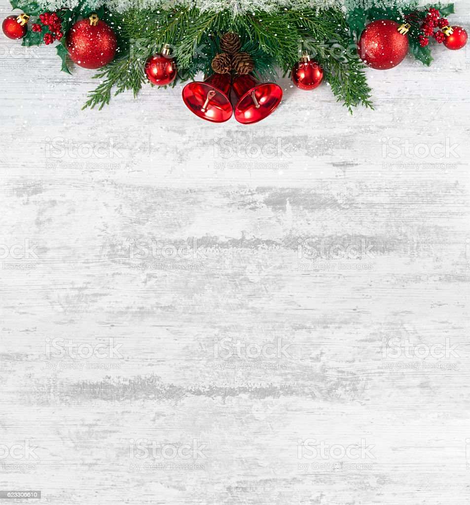 Christmas Decoration on Old Grunge Wooden Board stock photo