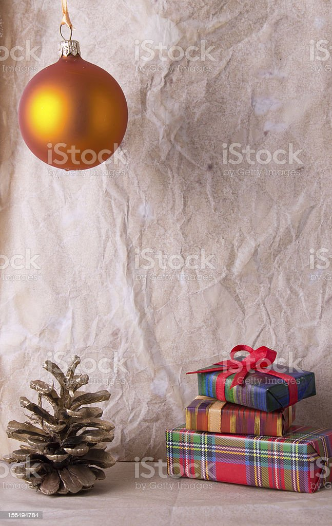 Christmas decoration on old paper royalty-free stock photo