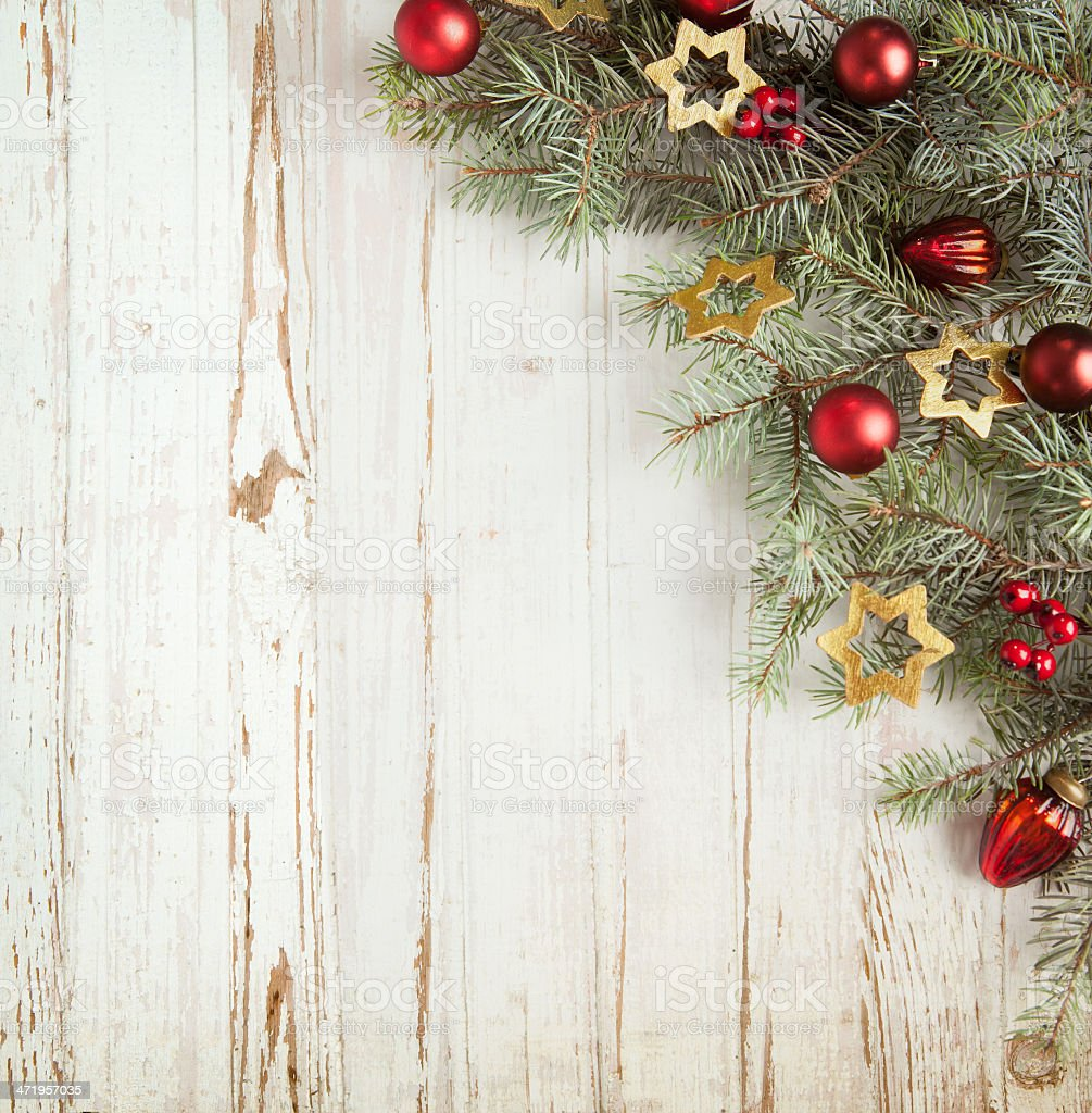 Christmas decoration on old wooden board stock photo