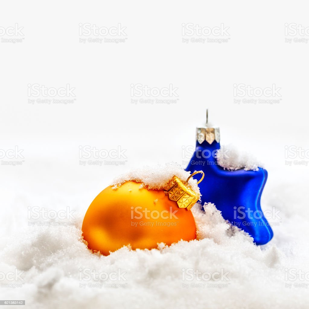 Christmas decoration on snow stock photo