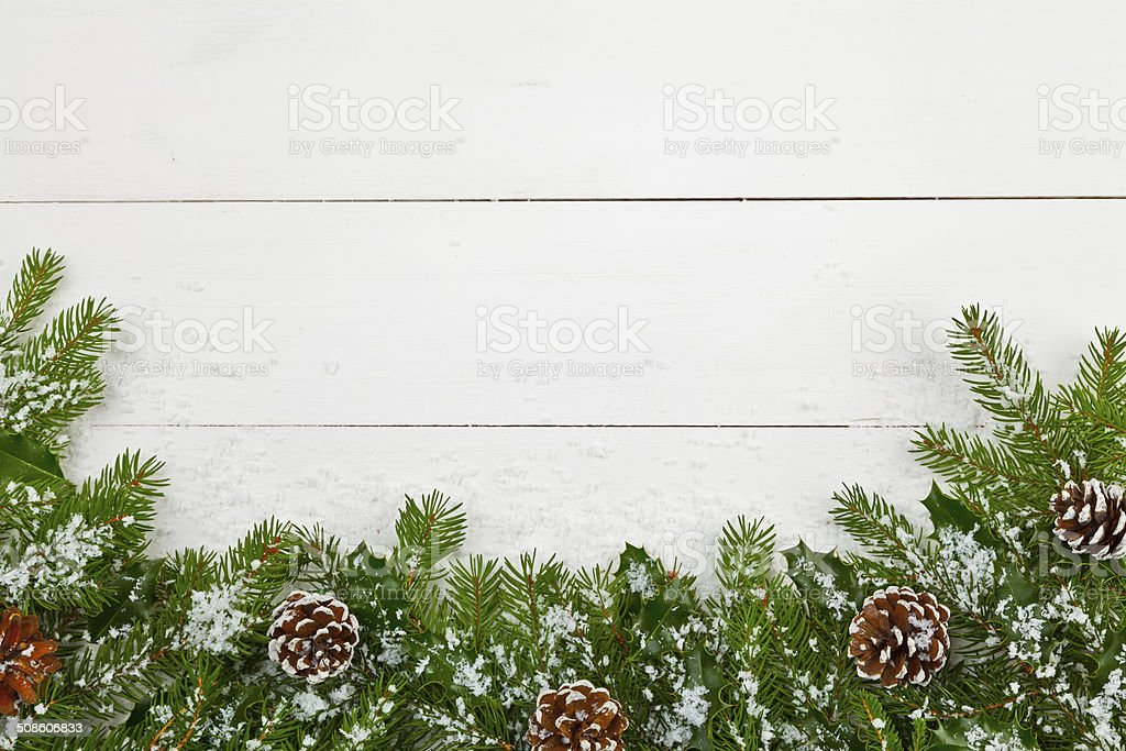 Christmas decoration on the wooden white background stock photo