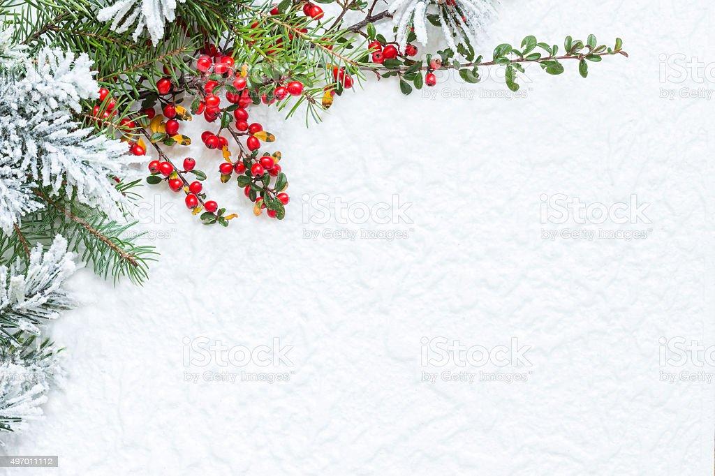 Christmas decoration on white texture stock photo