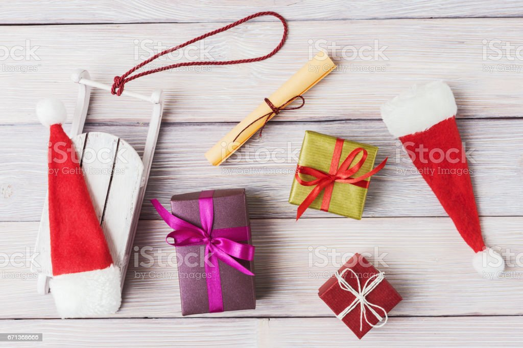 Christmas decoration on white wooden background stock photo