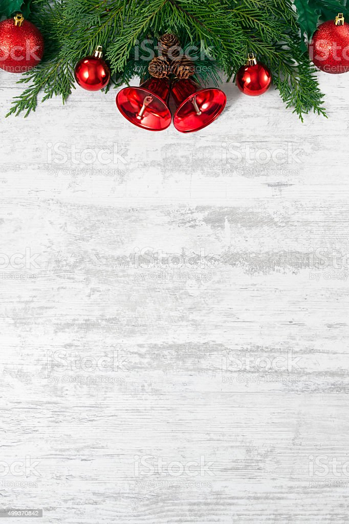 Christmas Decoration on White Wooden Board stock photo