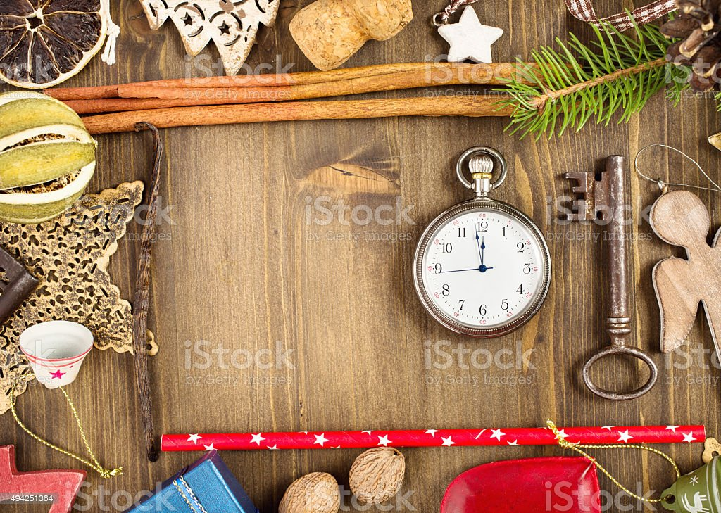 Christmas decoration on wooden background stock photo