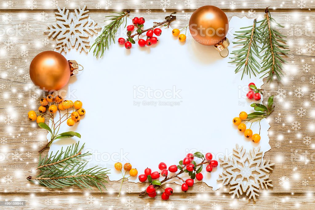 Christmas decoration on wooden boards. Christmas Card stock photo