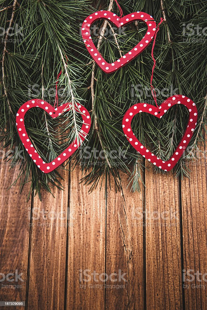 Christmas decoration ornaments on plank wood royalty-free stock photo