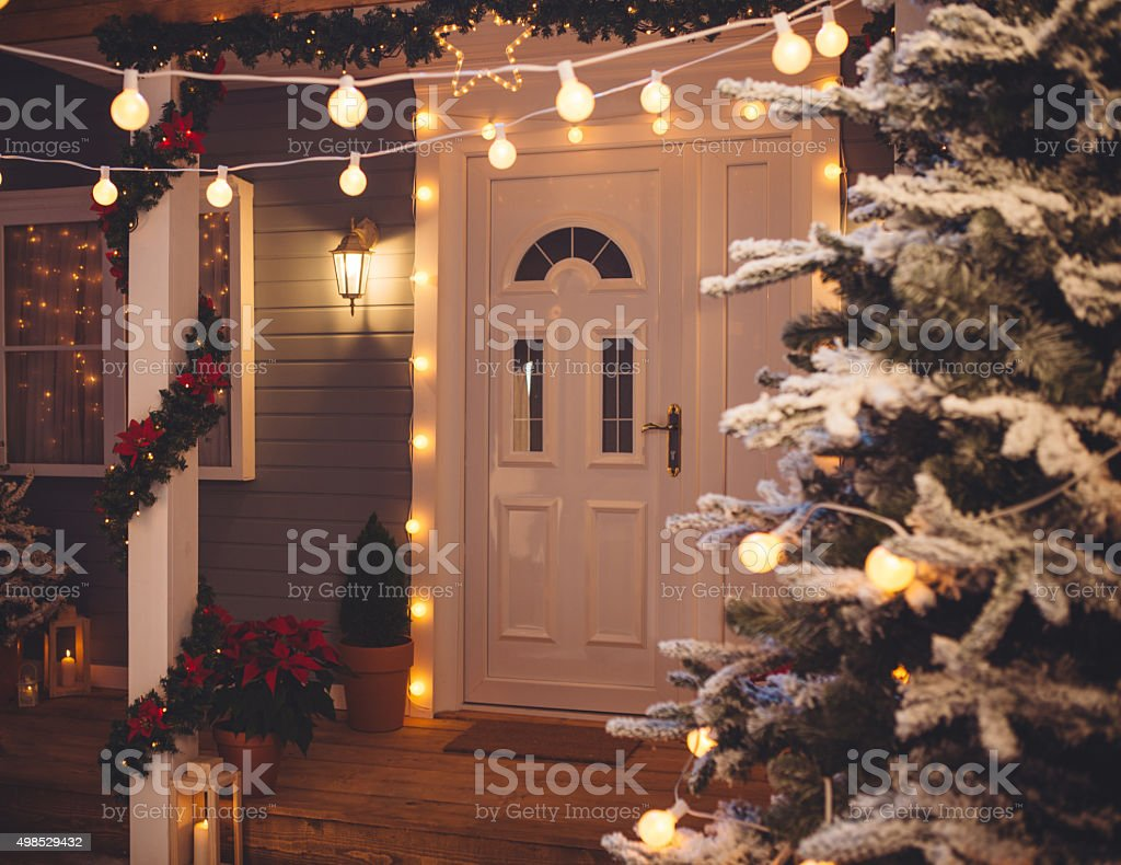Christmas decoration outdoors. stock photo