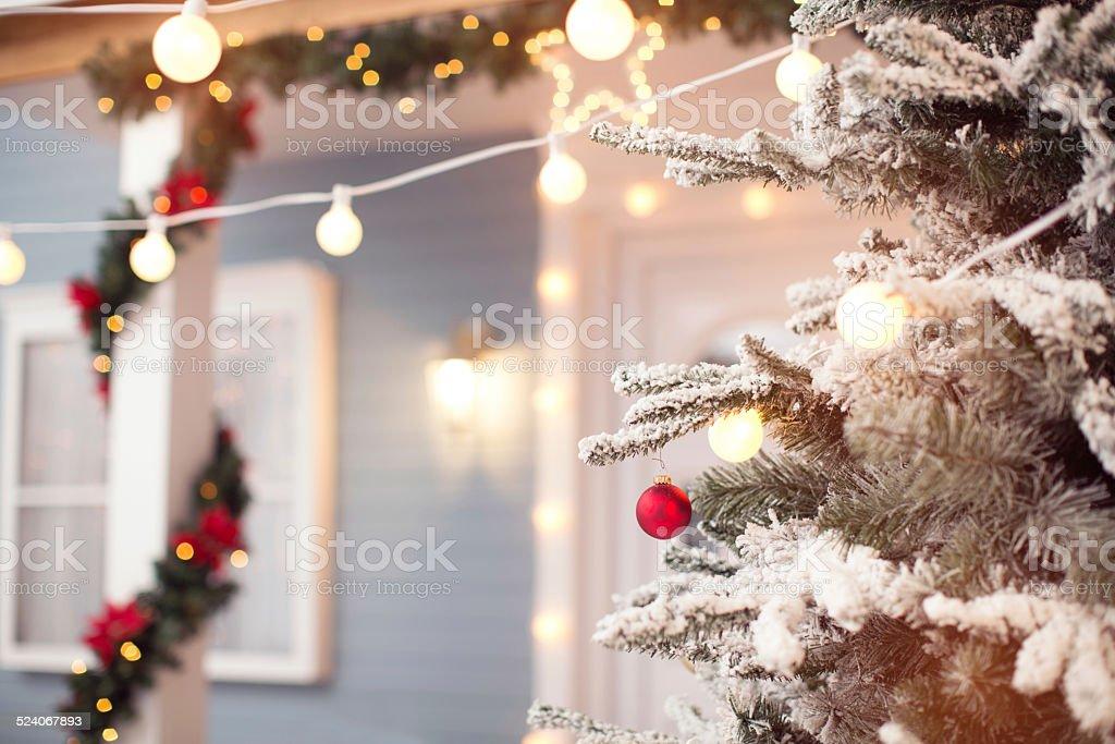 Christmas decoration outdoors. stock photo