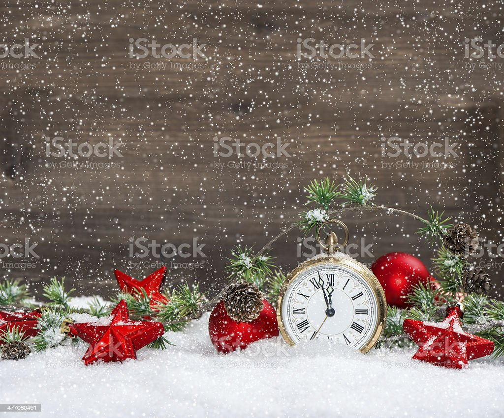 christmas decoration red stars and antique golden clock royalty-free stock photo