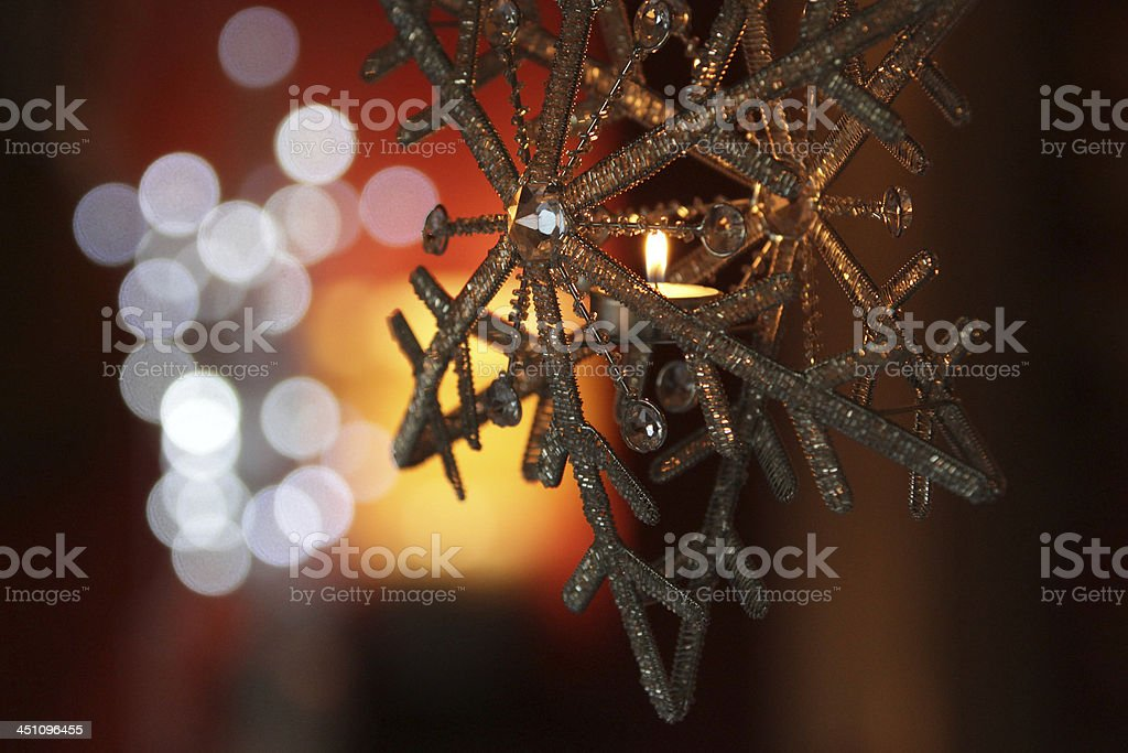Christmas decoration snow flake and candle stock photo