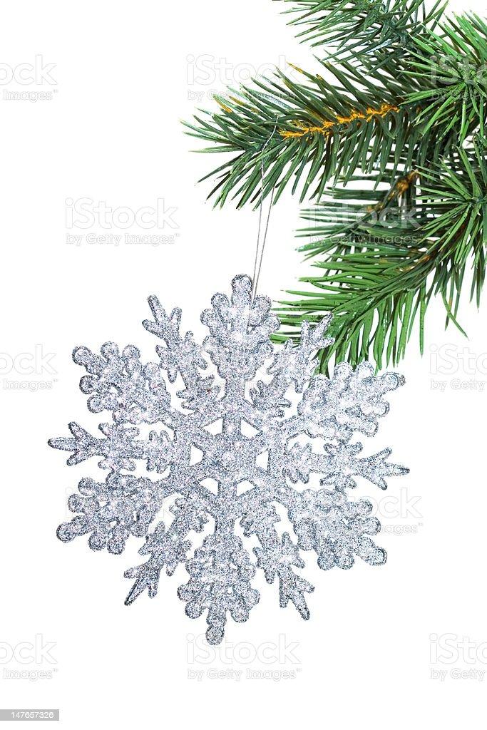Decoração de Natal Floco de Neve na árvore de Abeto foto de stock royalty-free