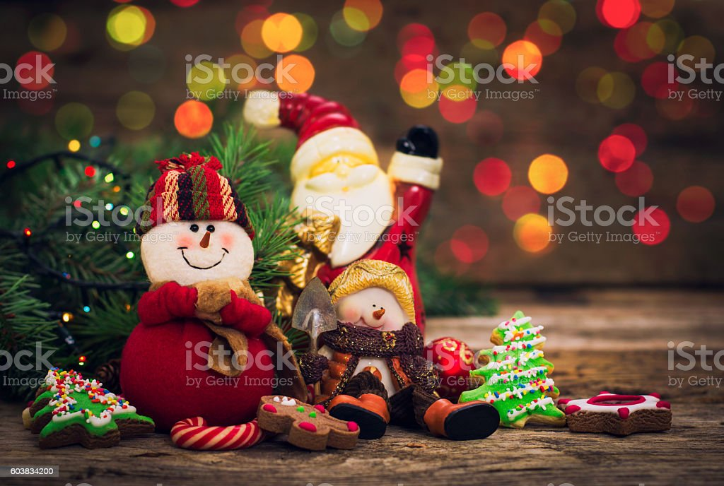 Christmas decoration - Snowman and Christmas cookies stock photo